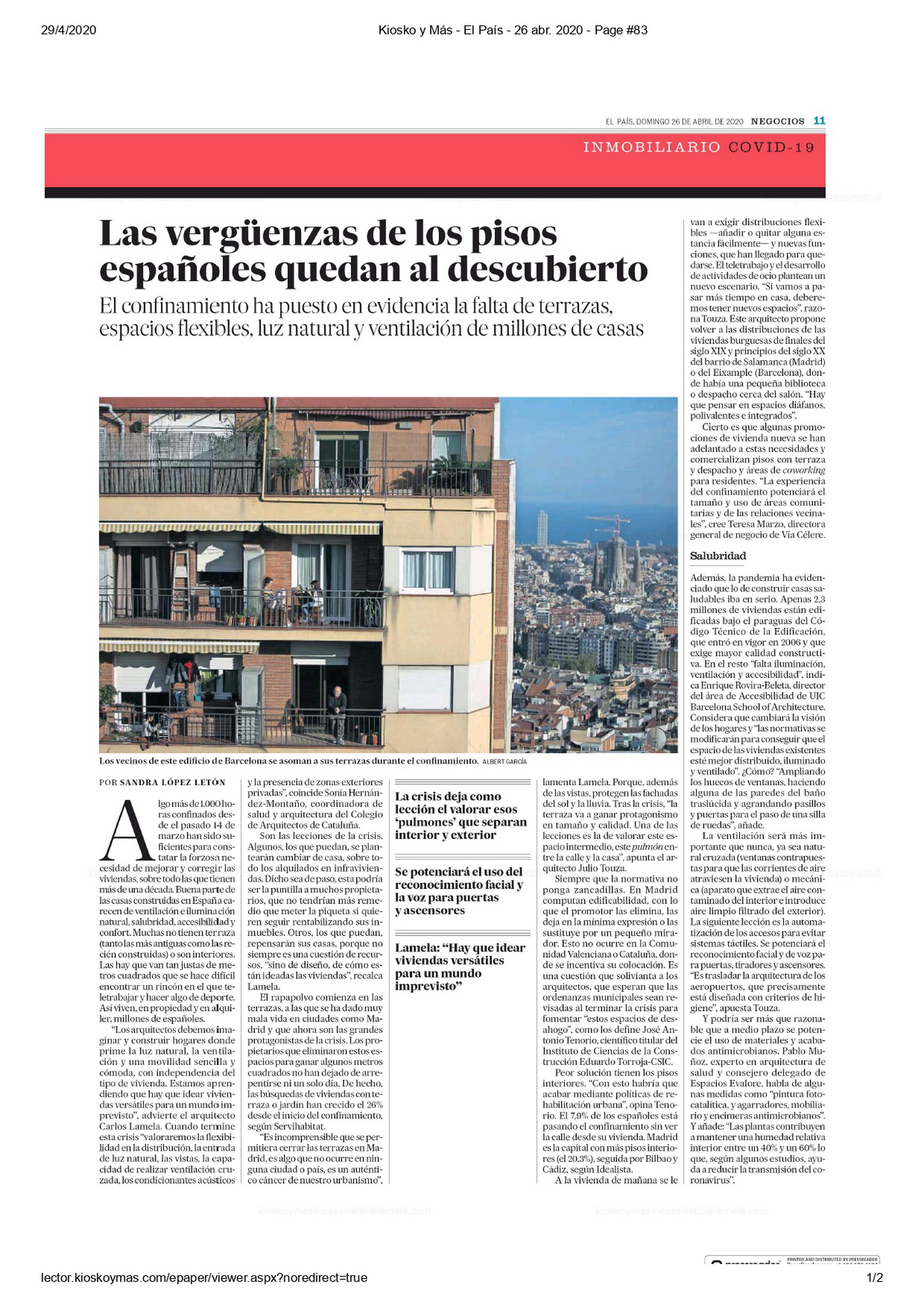 "Carlos Lamela explains in 'El País' that houses must be rethought. It's not a question of resources ""but of ideas"""