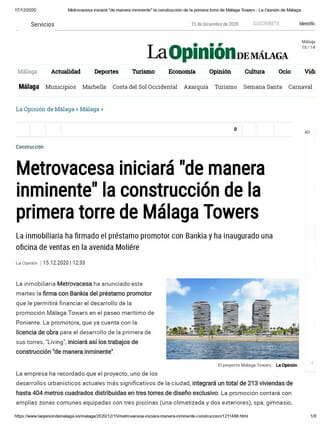 "Metrovacesa will start ""imminently"" the construction of the first tower of Málaga Towers"